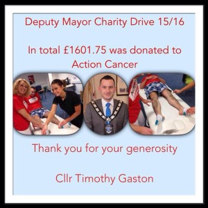 Cllr Timothy Gaston raised £1600 for Action Cancer