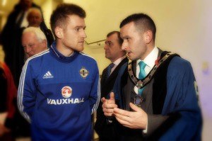Cllr Timothy Gaston with Northern Ireland Captain Steven Davis