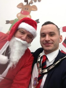 Cllr Timothy Gaston meeting Santa