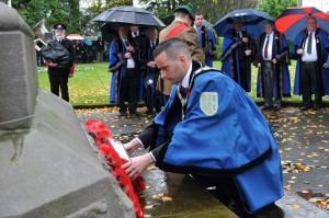 Cllr Timothy Gaston laying a wreath on Remembrance Sunday